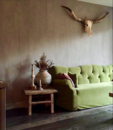 Woonkamer landelijke stijl met kleur