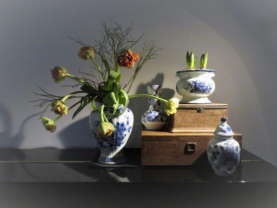 Delfts Blauwe vazen op piano