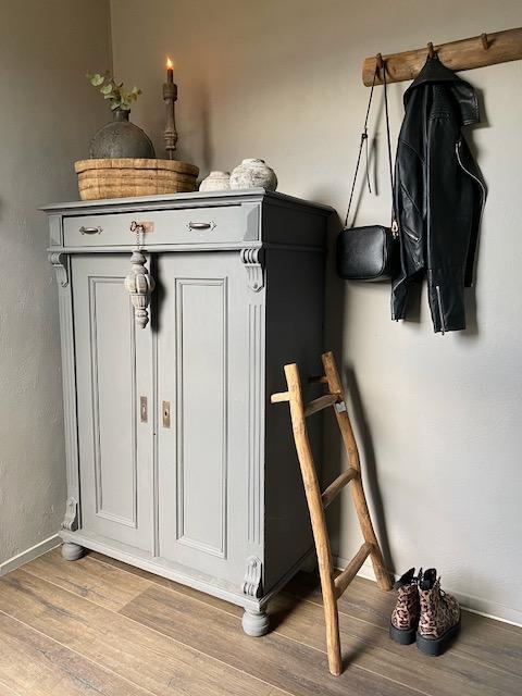 Landelijke kast hal decoratieladder kapstok houten kroonluchter
