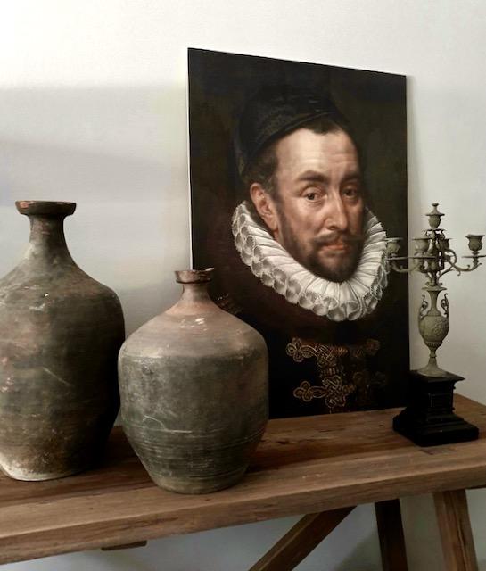 Canvas Willem de Zwijger op Hoffz tafel oude kruiken