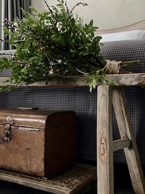 Groene toef op landelijk houten bankje achter het bed oude koffer