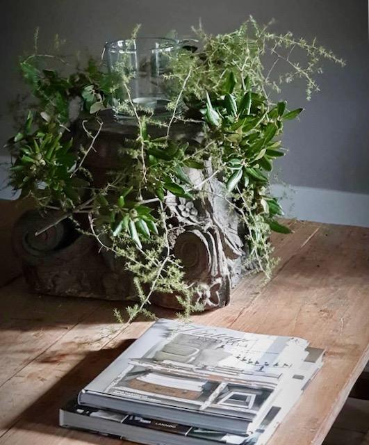 Grote poer met Asparagus en olijfblad
